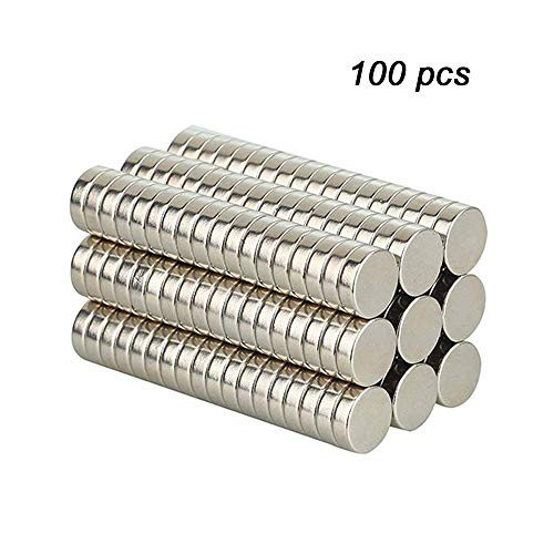 Erlliyeu 50 Stücke Neodym Magnete, Starke Seltene Erden-Neodym-Disketten-runde Magneten mit Loch-Kühlschrank-Büro Magnete(4 * 2mm (Erde Magnet)