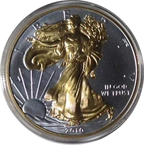 2010 US Silver Eagle, 1oz .9999 Silver with 24kt Gold Overlay