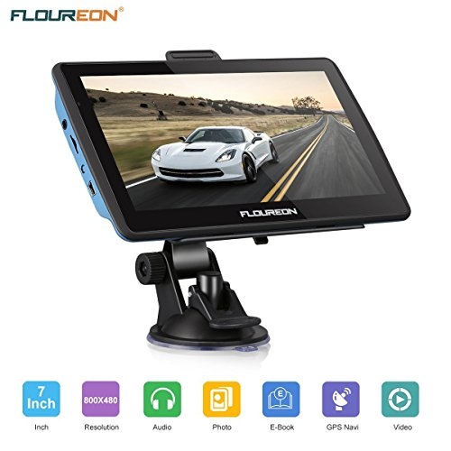 "FLOUREON Navigationsgerät 7"" LCD Touchscreen GPS Navigation NAV Navigator freie EU UK Maps 8GB Speicher für PKW KFZ Auto Car Taxi, Blau"