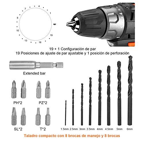 Tacklife PCD02B Taladro Atornillador 12V  destornillador eléctrico Litio  atornillador eléctrico 19+1 con selección de marcha  Mandril de bloqueo 10mm  8 puntas  8 brocas  1 extensor y luz LED