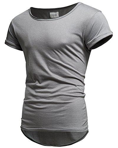 Crone Herren Kurzarm Rundhals Basic Oversize Slim Fit T-Shirt (L, Grau) (Herren Kurze T-shirts)
