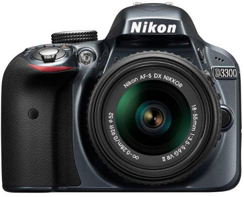 Nikon D3300 SLR-Digitalkamera Kit (24 Megapixel, 7,6 cm (3 Zoll) TFT-LCD-Display, Live View, Full-HD) inkl. AF-S DX 18-55 VR II Objektiv anthrazit