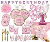 XXL Premium 122 Teile Erster Geburtstag Blinke Kleiner Stern Rosa Party Deko Set 8 Personen