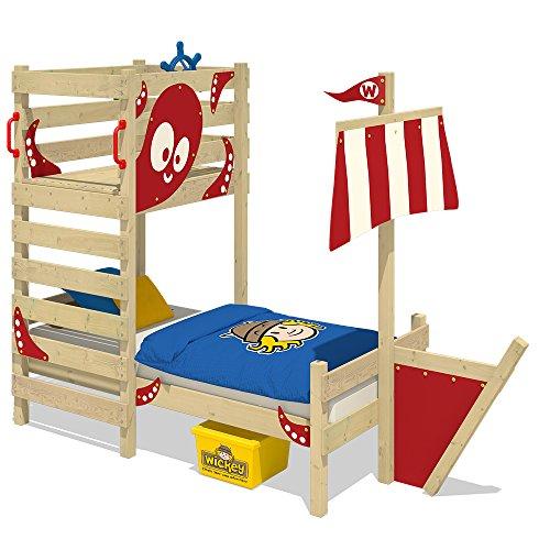 WICKEY Abenteuer-Bett CrAzY Bounty Kinderbett 90x200 Spielbett für Kinder mit Lattenboden, Spielpodest und Schiffanbau, rot