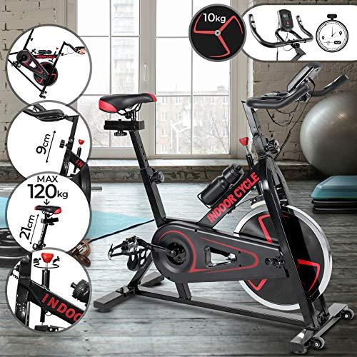 Physionics Heimtrainer Fahrrad - Ergometer, Spannungsregler, Sitz und Griff Höhenverstellbar (Schwungrad: 10 kg), LCD & Pulsmesser - Cardio Hometrainer, Fitnessbike