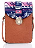 Tribal Desgined Mobile Pouch Sling Bag for girls to carry phone and cards in style -Tan