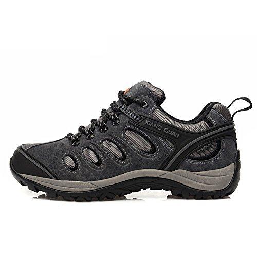 Xiang Guan Homme Low-top Lace-up Suède Imperméable Outdoor Chaussures de Randonnée Camping Walking Trekking Sneaker Gris foncé