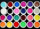 Warm 24PCS Mädchen Mix 12Pure 12Glitzer Farbe UV Polish Builder Gel für Nail Art Dekoration Tipps Set
