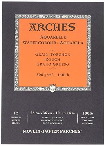 ARCHES Papel de Acuarela, 100% Algodon, Blanco, 36x26x1 cm, 12