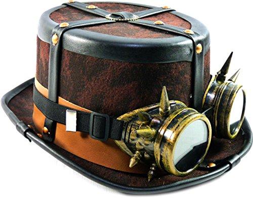 (Steampunk Hut Zylinder Braun mit Brille und Lederriehmen)