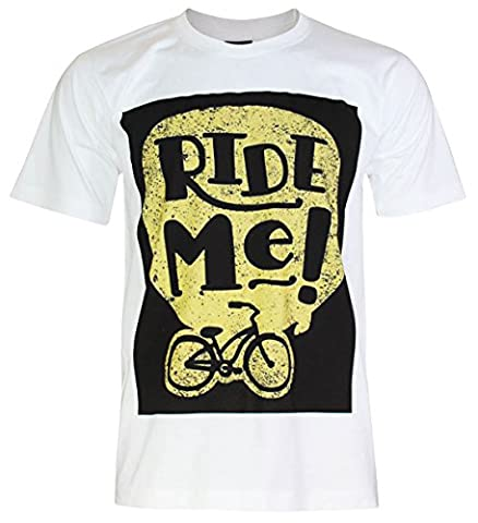 PALLAS Unisex's Cycling Bike Cool Ride Me Men's Cotton T-Shirt -PA344 (White ,2XL)