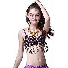 Traje de la danza del vientre Bra Tops Bra Costumes Beaded Fringe Bra Top Dancewear