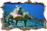 Pixxprint 3D_WD_S2560_62x42 exotische Schildkröte im Meer Wanddurchbruch 3D Wandtattoo, Vinyl, bunt, 62 x 42 x 0,02 cm