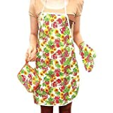 Ruon Deals® Set of Kitchen Apron + Oven Mitten + Pot Holder (3 Pc set with Assorted Colors, Design And Combinations)