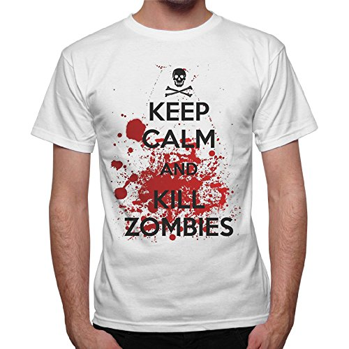 T-Shirt Uomo Keep Calm And Kill Zombies The Walking Dead - Bianco