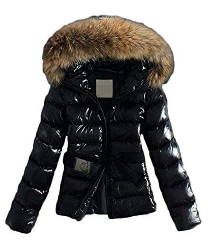 Damen winter Jacke warmer Stepp MANTEL Parka Daunenjacke mit Kapuze Zipper