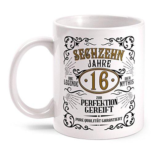hiskey Label Sechzehn Jahre zur Perfektion gereift beidseitig bedruckt mit Spruch | Geschenk Idee zum 16. Geburtstag, Farbe:weiß ()