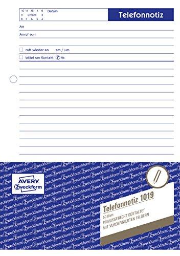 Avery Zweckform 1019 Telefonnotiz (A5, Abreißblock, oben verleimt, 50 Blatt) weiß