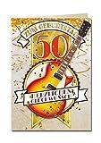 Bentino - Biglietto di auguri XXL con effetti sonori, per 50° compleanno, motivo: chitarra, con busta, formato A4