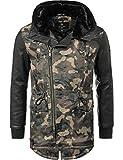 Navahoo Herren Übergangsjacke Mantel Parka mit Kunstleder-Ärmeln Shinook (vegan hergestellt) Camouflage Gr. XL
