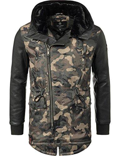 Camouflage Nylon Parka (Navahoo Herren Winter Mantel Kurzmantel mit Kunstleder-Ärmeln Shinook (vegan hergestellt) Camouflage Gr. L)