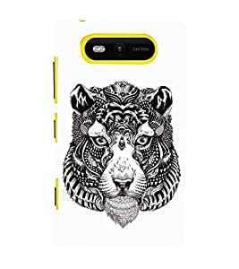 Fuson Designer Back Case Cover for Nokia Lumia 820 (Animated Cartoon Striped Tiger Face Black And White Striped Face)