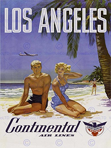 travel-la-los-angeles-continental-airline-beach-tropical-annuncio-poster-2232py