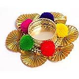 Slings Handcrafted Designer Metallic Diwali Diya Lights Tea Lights Candle Holder Home Decoration (Set Of2)