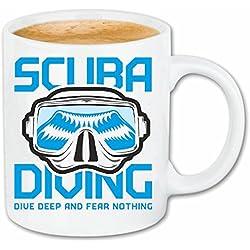"""taza para café """"BUCEO buceador del buceo con equipo de buceo SCUBA diving"""" Caso duro de la cubierta Teléfono Cubiertas cubierta para el330 ml de cerámica en blanco"""