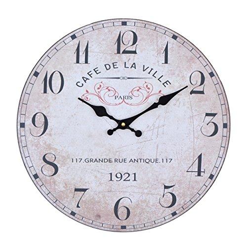 Wanduhr - De La Ville - Holz Küchenuhr mit großem Ziffernblatt aus MDF, Retro Uhr im angesagtem Shabby Chic Design mit leisem Quarz-Uhrwerk, Ø: 32 cm