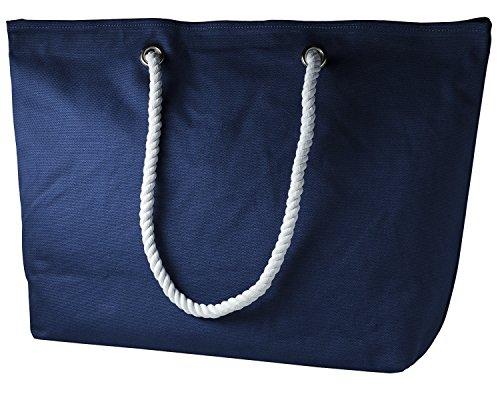 cecilia&bens Canvas Strandtasche XXL | Beach Bag-Shopper | Tasche Strand | Badetasche (blau) (Canvas Strand Tasche)