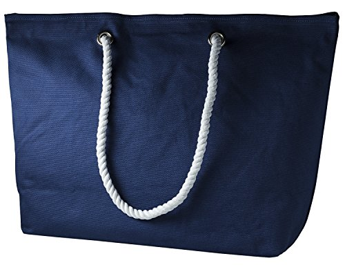cecilia&bens Canvas Strandtasche XXL | Beach Bag-Shopper | Tasche Strand | Badetasche (blau)
