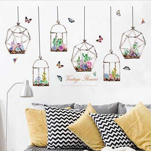 GLYOUNG Wandaufkleber Bunte Blumen Kakteen Hängen In Der Glasflasche Schmetterling Aufkleber Für Wohnzimmer Schlafzimmer Kunst Decals Wandbilder