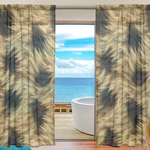 yibaihe Fenster Sheer Vorhänge Panels Voile Drapes Tüll Vorhänge Schöne Einrichtung Animal Print Leopard Textur 140 W x 198cm L 2Einsätze für Wohnzimmer Schlafzimmer Girl 's Room -