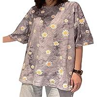 Camiseta Pequeña con Estampado de Margaritas y Cuello Redondo en Estilo Harajuku Camiseta de Algodón Suelta Informal y de Manga Corta