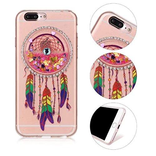 Glitzer iPhone 7 Plus Hülle, MOMDAD Traumfänger Dreamcatcher Wind Chime Campanula TPU Silikon Handyhülle für iPhone 7 Plus Schutzhülle Transparent Glitter Flüssig Fließen Quicksand Liquid Treibsand So Pink