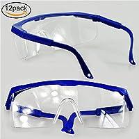 Pack de 12 gafas de seguridad y gafas protectoras, marcos azules ajustables para niños y adultos, con lentes de policarbonato transparente más grueso y con almohadillas de goma para la nariz y los oídos, para la industria profesional