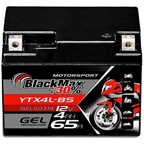 BlackMax CTX4L-BS Motorradbatterie YTX4L-BS GEL 12V 4Ah Roller Batterie 50314