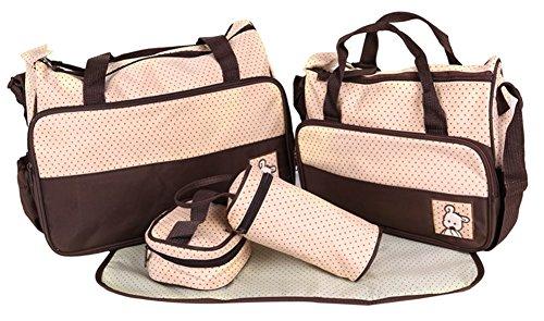 LATH.PIN 5teiliges Bär Baby Wickeltaschen Messenger Bag Umhängetasche Mama Handtasche (Pinup Messenger Bag)
