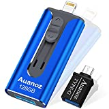 Chiavetta USB iPhone Da 128GB, Memory Stick Auanoz Per iPhone Con 4 Porte, Chiavetta USB 3.0 Compatibile Con iPhone/iPad/Android/PC/iPhone Photo Stick Con Adattatore OTG.(Blu Reale-128GB)