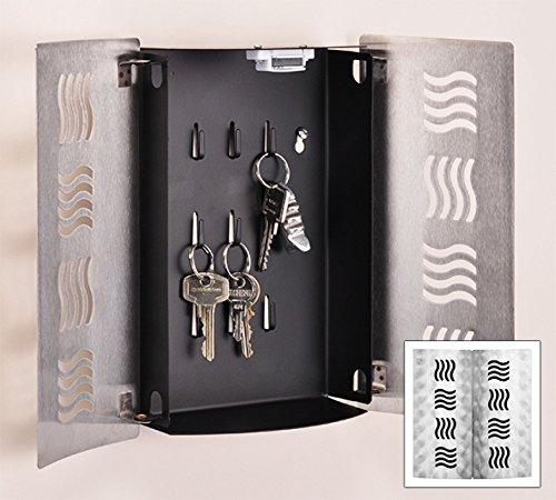 Design Schlüsselkasten Edelstahl 2 Türen Magnetverschluss 061