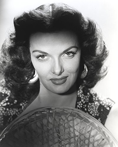 Floral Straw Hat (The Poster Corp Jane Russell Close Up Portrait in Black Floral Dress with Straw Hat in White Background Photo Print (20,32 x 25,40 cm))