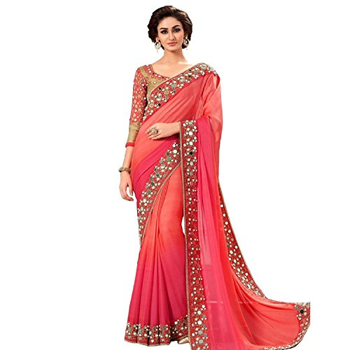 New Pink Shaded Georgette Real Mirror Work With Embroidered Border Saree  available at amazon for Rs.850