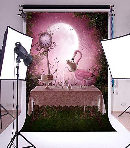 intergrund Fotografie Hintergrund Fantasie Garten Rosa Flamingo Tisch Tee-Set Rosa Ton Abend Landschaft Uhr Vollmond Wunderland Wald Prinzessin Mädchen Baby Porträts Halloween ()