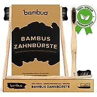 Juego de 4 Bambú Cepillo de dientes · Madera Cepillos de Dientes de bambú · 100% sin de BPA y totalmente Vegano · Medio cerdas suaves de carbón activo de fibras de bambú