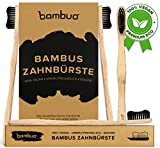 Bambuo Bamboo Toothbrush, completely without BPA and vegan, medium soft bristles with infused bamboo charcoal, packaging 100 percent biodegradable, Pack of 4 handmade wooden toothbrushes