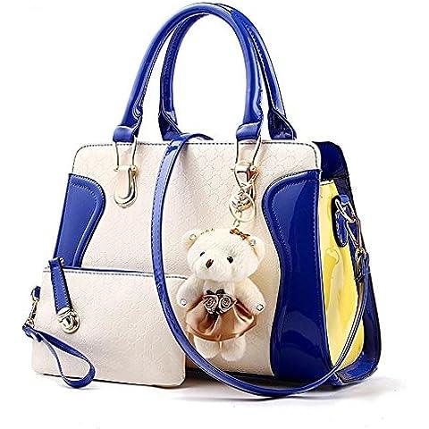 Colore PU cuoio Sweet Lady incantesimo piccolo orso femmina tracolla Messenger Handbag , sapphire blue