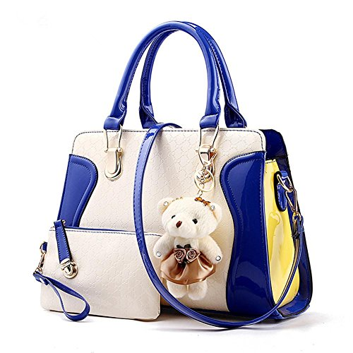 LDMB Damen-handtaschen PU Leder Sweet Lady Zauber Farbe kleine tragen weibliche Schulter Messenger Tasche sapphire blue