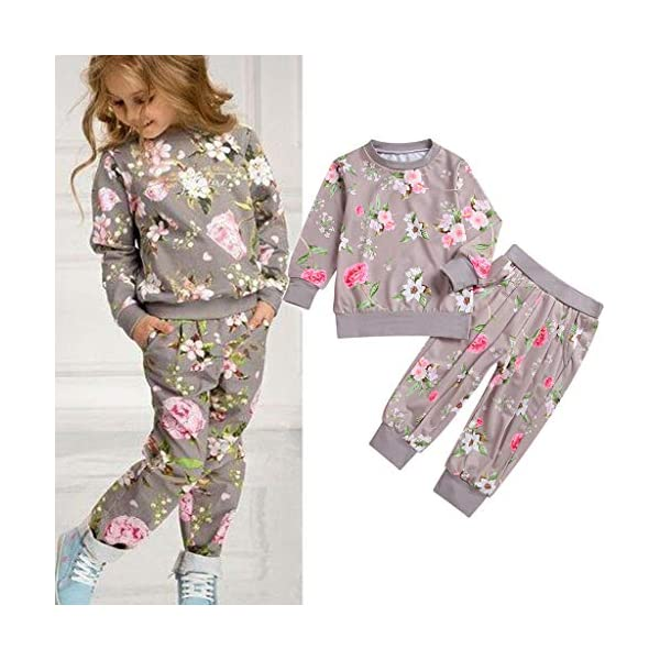 Heetey - Top para niña de Manga Larga, Estampado de Flores, Sudadera, pantalón, Lazo, Sudadera, Vestido de Fiesta, Boda… 2