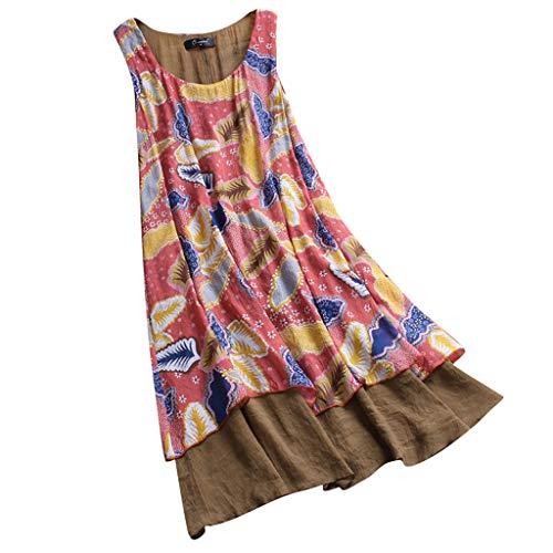 Böhmisches Blumendruckkleid der Frauen Ärmelloses Strand-Freizeitkleid Ärmelloses Loses Sommer-langes Partykleid Sonojie
